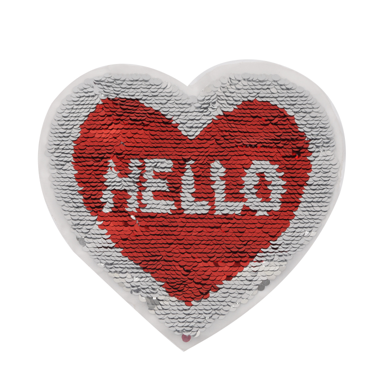 Heart design sequins patch custom sequin patch sewing on for A t design decoration co ltd