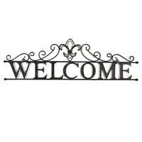 Home decoration wrought iron metal welcome sign wall plaque