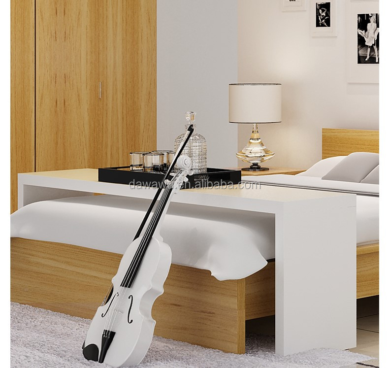 White High Gloss Lacquering Wooden Bed Table With Wheels View