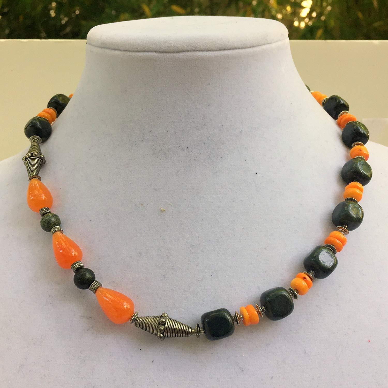 "Dark green and orange stone necklace, 19"" long, Unisex asymmetrical jewelry, Natural semiprecious jasper jade coral, OOAK unique artisan"