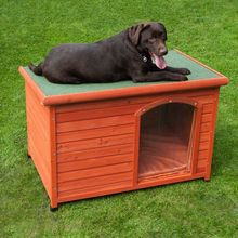 Factory direct wholesale Outdoor Weatherproof Flat Roofed Insulated large big Wooden Dog Kennel dog House