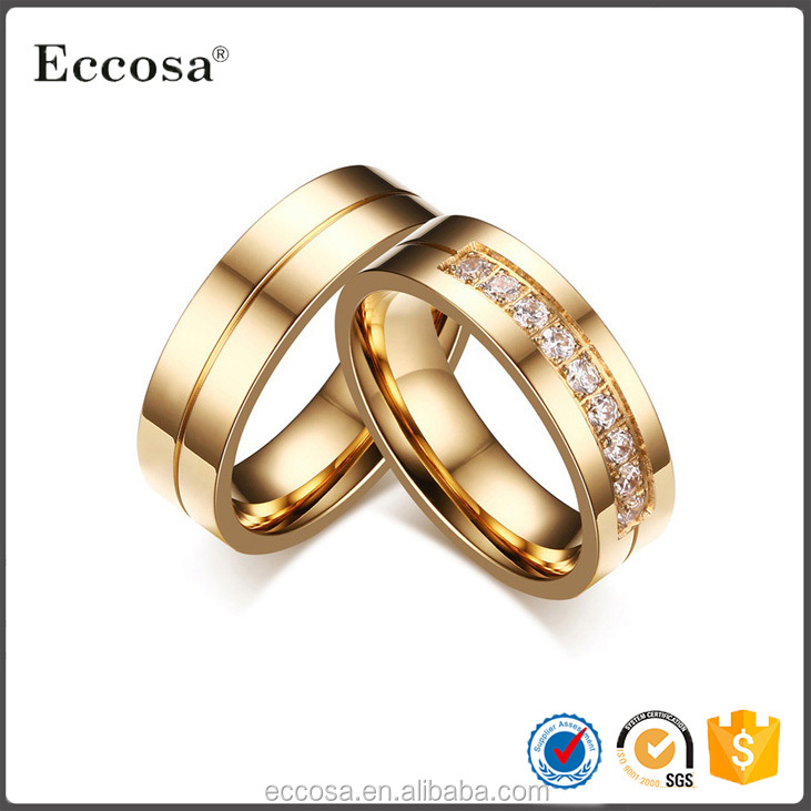 Gold-Color CZ Wedding Rings For Women Man Cubic Zirconia Ring Stainless Steel Romantic Jewelry USA Size