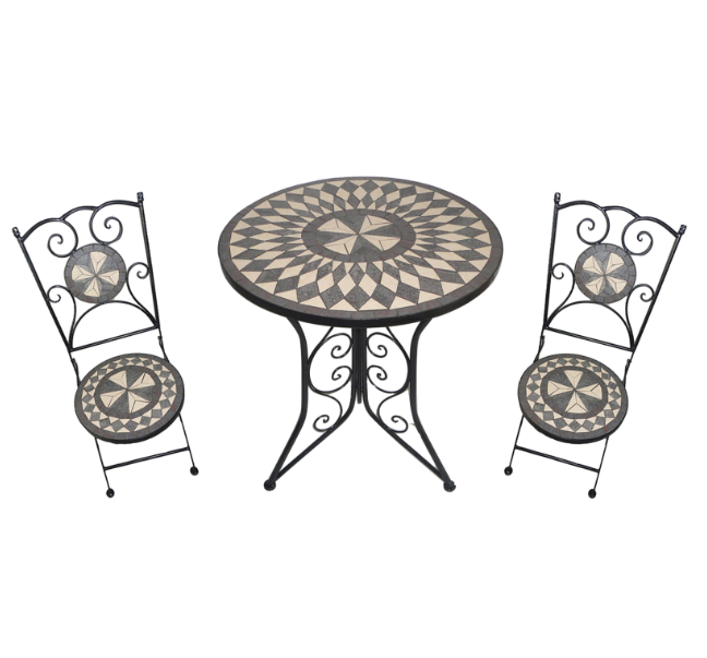 Outdoor Patio Coffee Table Mosaic Bistro Set With Two Chairs