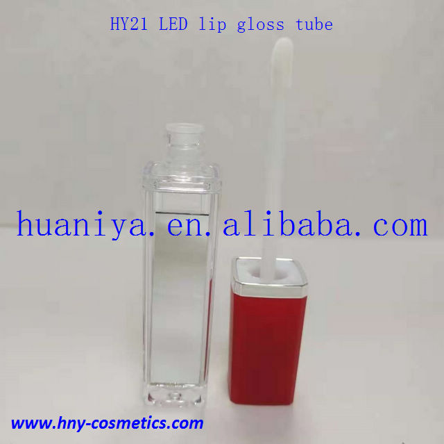 Factory wholesale selling empty square led light  lip gloss tube with red cap