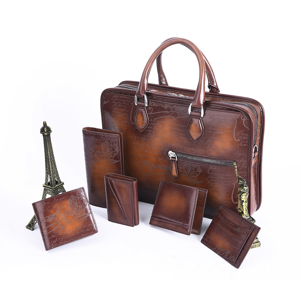 Terse Custom Designer Mens A Set Leather Briefcase/wallet/purse ...