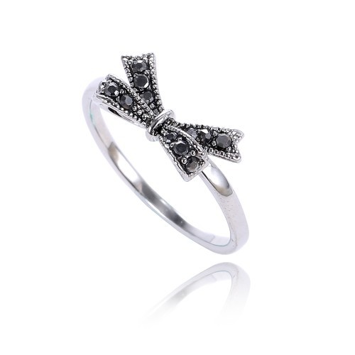 Never Fade Platinum Plated Rings Bow Black CZ Diamond Personality Ring Jewelry For Women  AA222058728