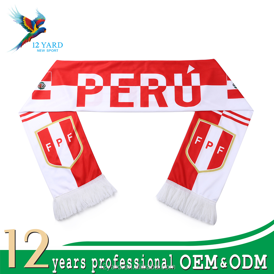 Sublimation print promotion customized logo soccer fan winter scarf