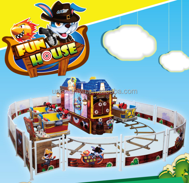 2015 UNIS hot sale indoor amusement train ride with motion guns.