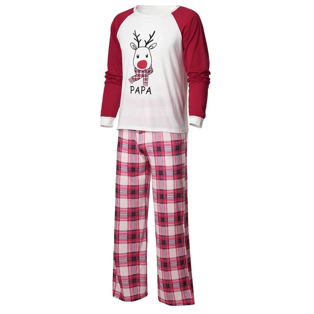f3aa92f7e3 Get Quotations · Yihaojia 2PCS Parent-Child Family Pajamas Christmas Clothes  Set Mommy &Daddy&Me Daddy Men Deer Letter