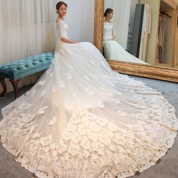 Ne033 Plus Size Vestido De Noiva Long Tail Lace Wedding Dress 2017