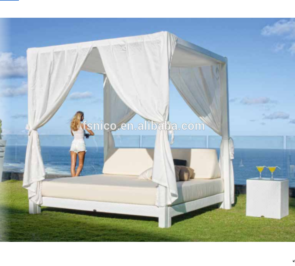 - Wicker Furniture Moon Daybed Outdoor Canopy Lounge - Buy