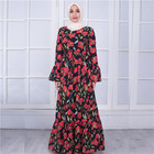 Loriya Fashion Abaya Manufactures Beautiful Red Flower Bubble Crepe Muslim Islamic Maxi Dress 2018