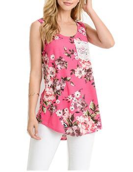 332b5dbbf women Summer latest designs girls Lace sleeveless t shirt printing vest  Floral Printed sexy sheer tank