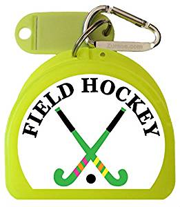 Zumoe Field Hockey Mouth Guard Case Field Hockey Mouth Guard Case Field Hockey Retainer Case or Field Hockey Dental Case called Two Crossed Sticks, over 50 Designs and 9 Colored Cases Available