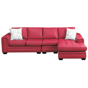 Modern red leather simple style three-seat + chaise longue living room cut & sew sofa cover