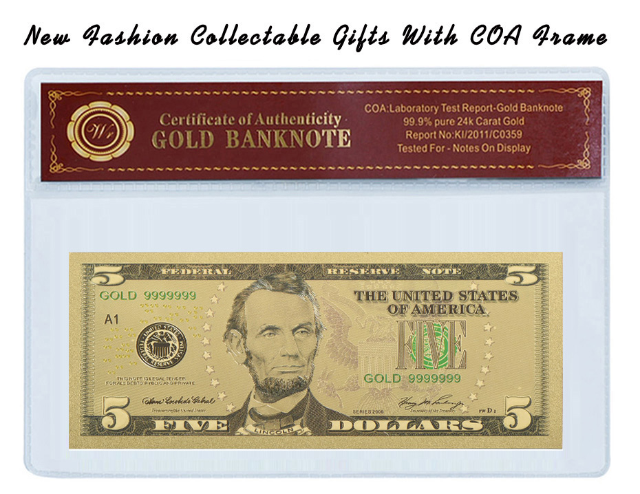 WR 999 24K Gold Plated Banknote USD 5 Colored Fake Bills Home Decor Copy Paper Money Birthday Gifts