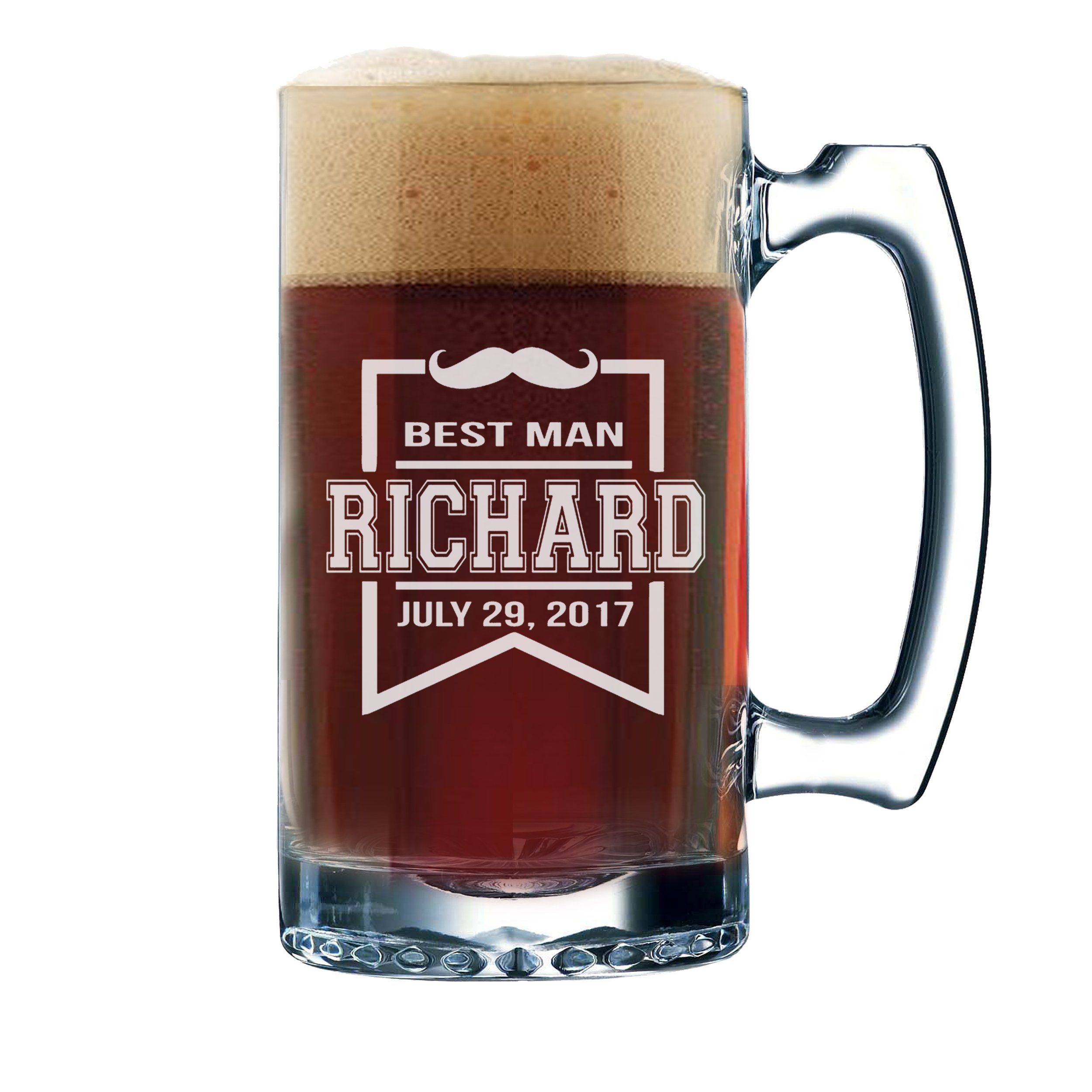 Get Quotations · Wedding Party Beer Mugs - Custom Engraved Personalized Groomsmen Beer Glasses Gifts - 12 oz -