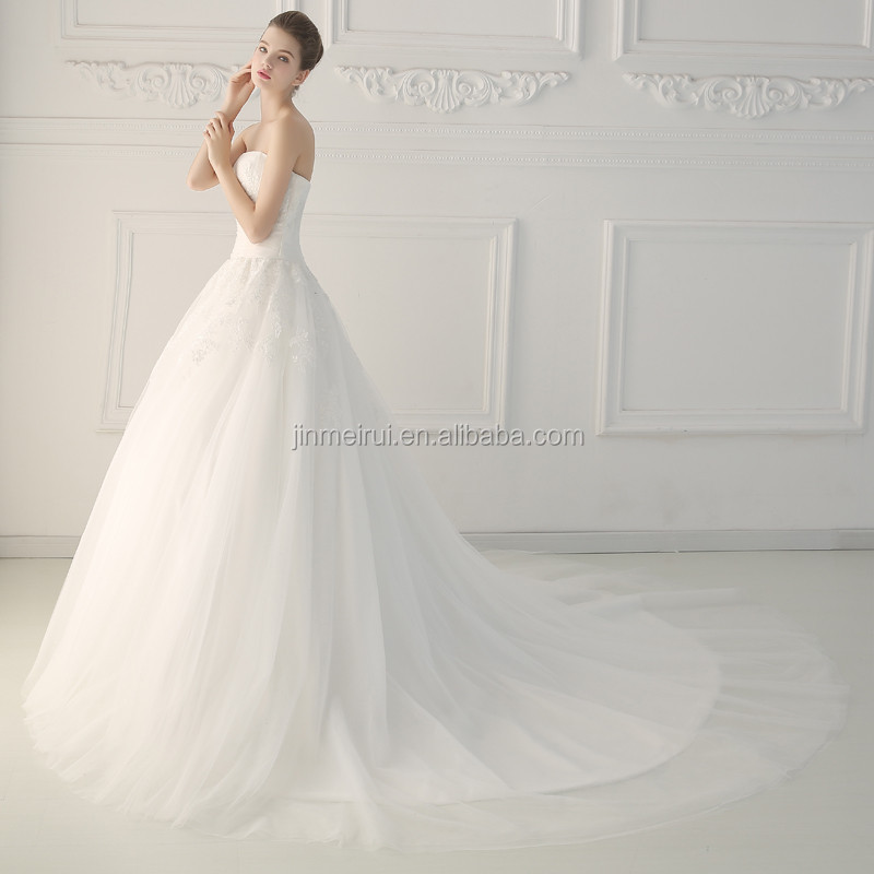 White Elegant Ball Gowns Appliqued Sleeveless Strapless Sweep Train Tulle Lace-up Backless Wedding Dresses