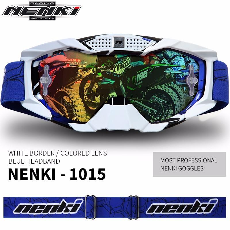 100% Original Professional Motocross Goggle Motor Cycle Gafas Rainbow Lens Nenki Brand 1015