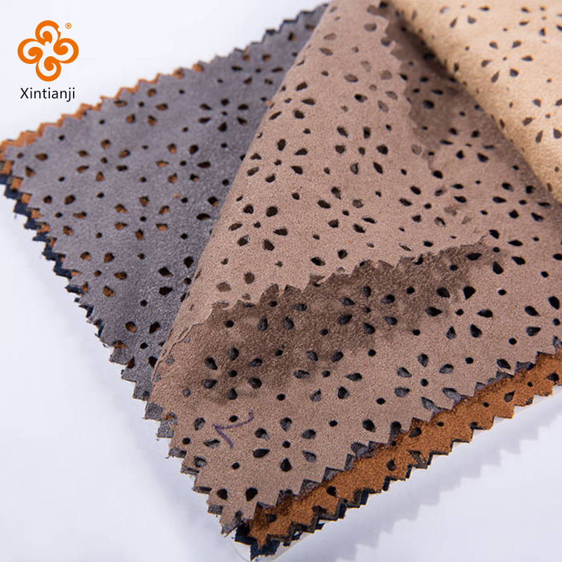 Hollow faux 100 polyester suede fabric for bag and sofa
