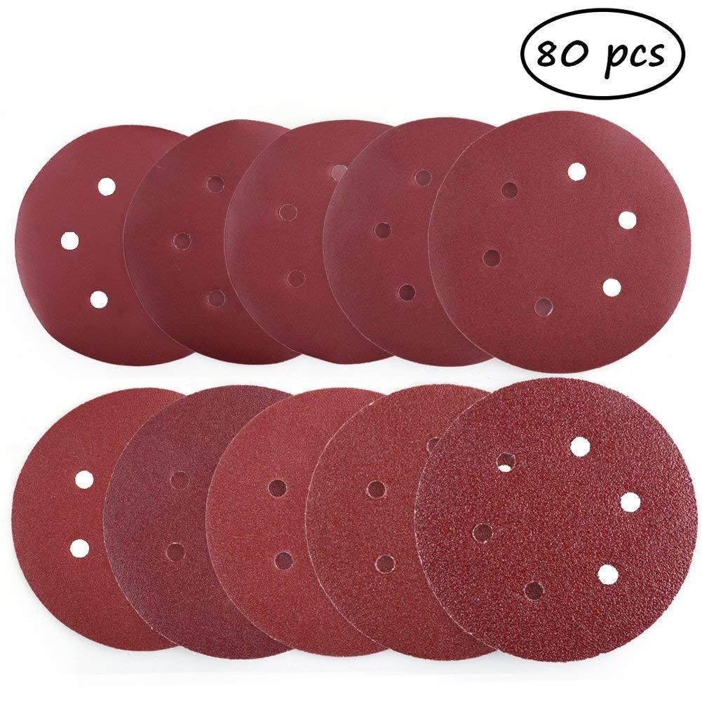 6 Inch 6 Hole Sanding Disc, 80pcs Each 8pcs of Mix 40 60 80 100 120 180 240 320 400 800 Grits Sandpaper Assortment - Hook and Loop Random Orbital Sander Paper, Pack of 25#-006 (80, mix grit)