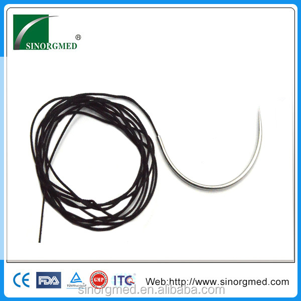 CE ISO Approved Black Silk Braided Non Absorbable Suture