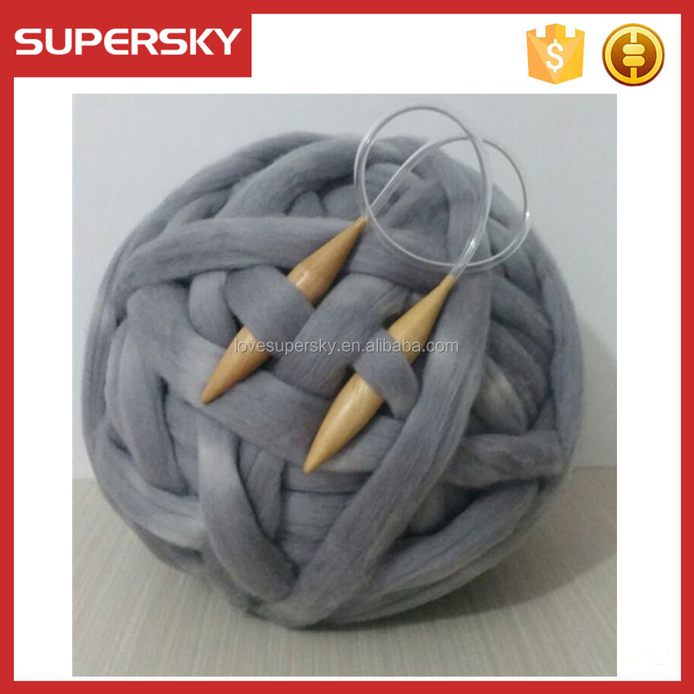 TT3-1 Natural Soft Feeling Super Chunky Giant Blanket Yarn Merino Wool Tops Arm Knitting Roving Yarn