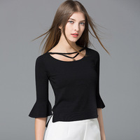 2017 spring new women's trumpet sleeved flounced thin shirt Slim short sweater wholesale