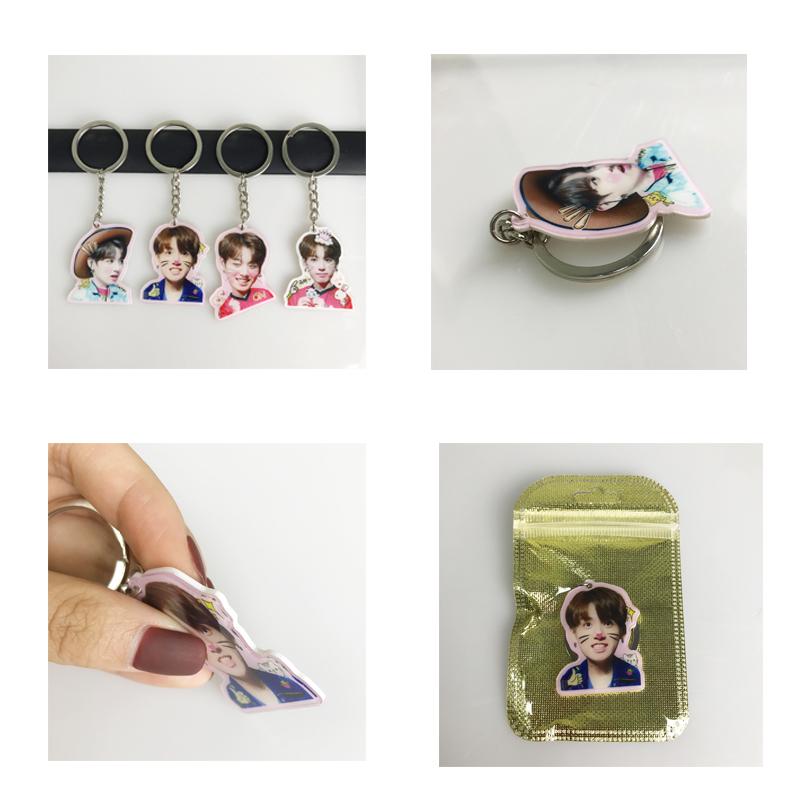 Hoge Kwaliteit Promotionele mode geschenken dans sleutelhangers bts kpop sleutelhanger met dezelfde van wilt een
