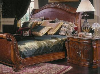 Mahogany queen sleigh bed set king ava buy bedroom for Juego de cuarto queen size