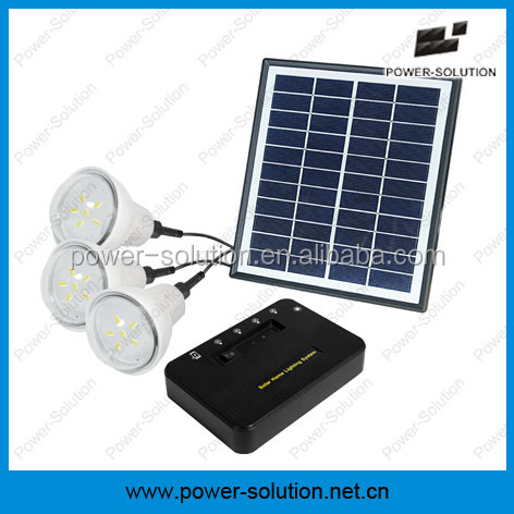 Solar Light Bulbs with 3PCS lights and USB Cell Phone Charger