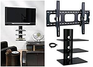 2xhome - NEW TV Wall Mount Bracket & (3) Triple Shelf Package – Secure Low Profile LED LCD Plasma Smart 3D WiFi Flat Panel Screen Monitor Moniter Display Large Displays - Flat Thin Ultra Slim Sleek Against the Wall Adjusting Adjustable - 3 Tier Under TV Tempered Glass Floating Hanging Shelves