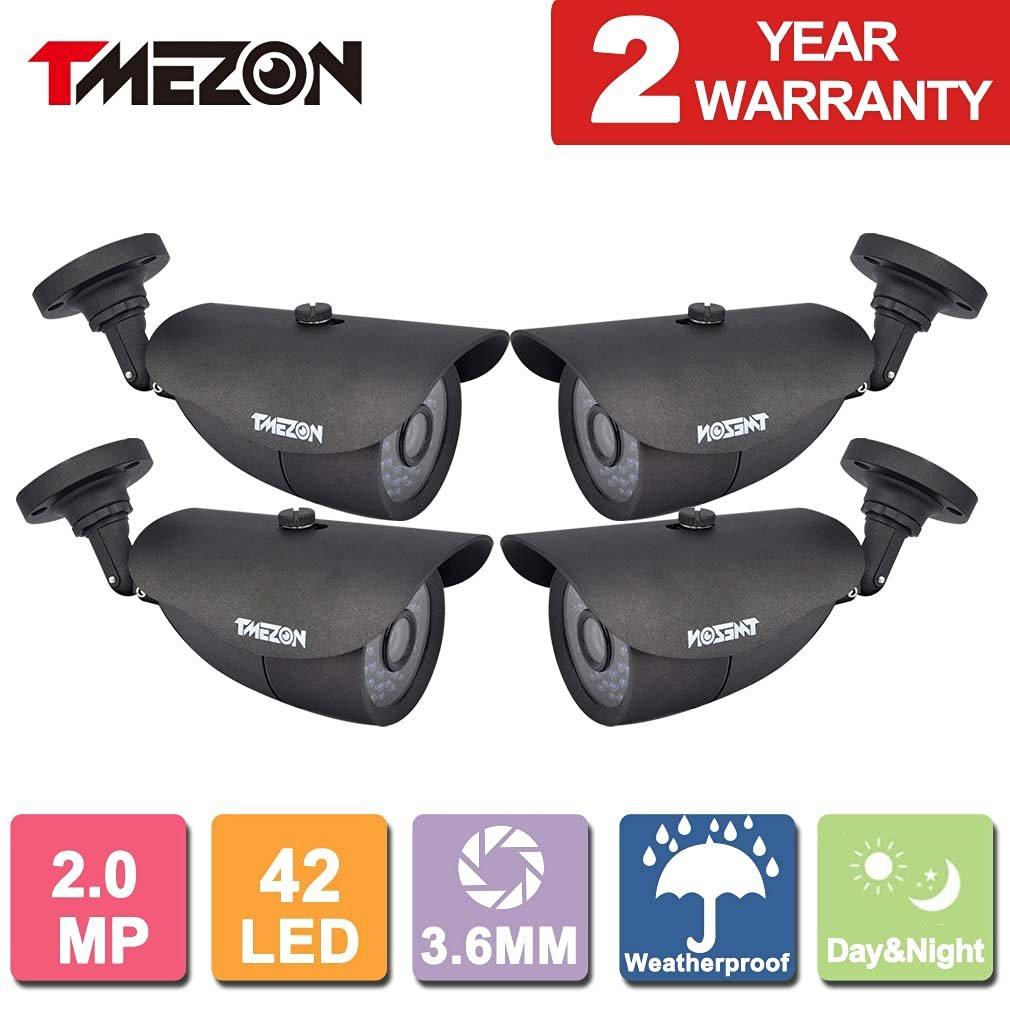TMEZON 4 Pack 2.0MP CMOS Sensor 1080P AHD/960H Over Analog Weatherproof 42 IR Wide Angle Lens Camera with OSD