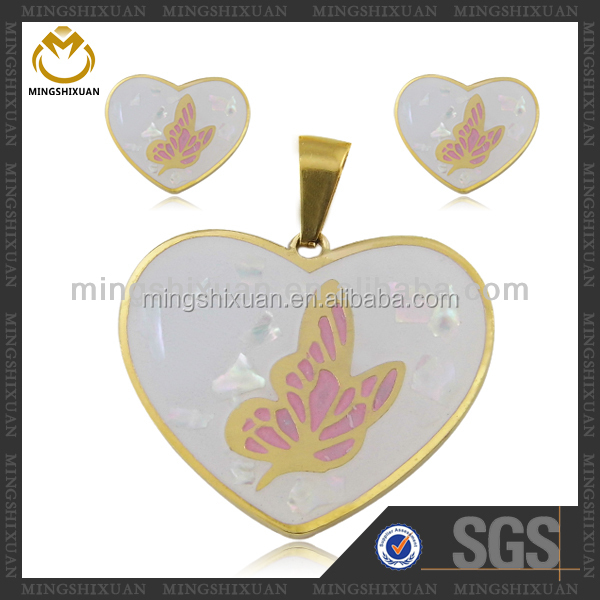 Merry Christmas Bulk Puffy Heart Pendant Gold Jewelry Half Set