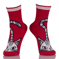 Cute Cat Funny Socks Red Sox