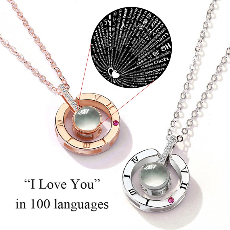 2018 New Arrival Rose Gold & Silver 100 언어 I love you 프로젝션 펜 던 트 Necklace Romantic Love 메모리 문 Necklace