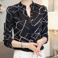 2019 new summer Korean all-match Strapless halter neck sleeveless blouse small shirt printed chiffon shirt female