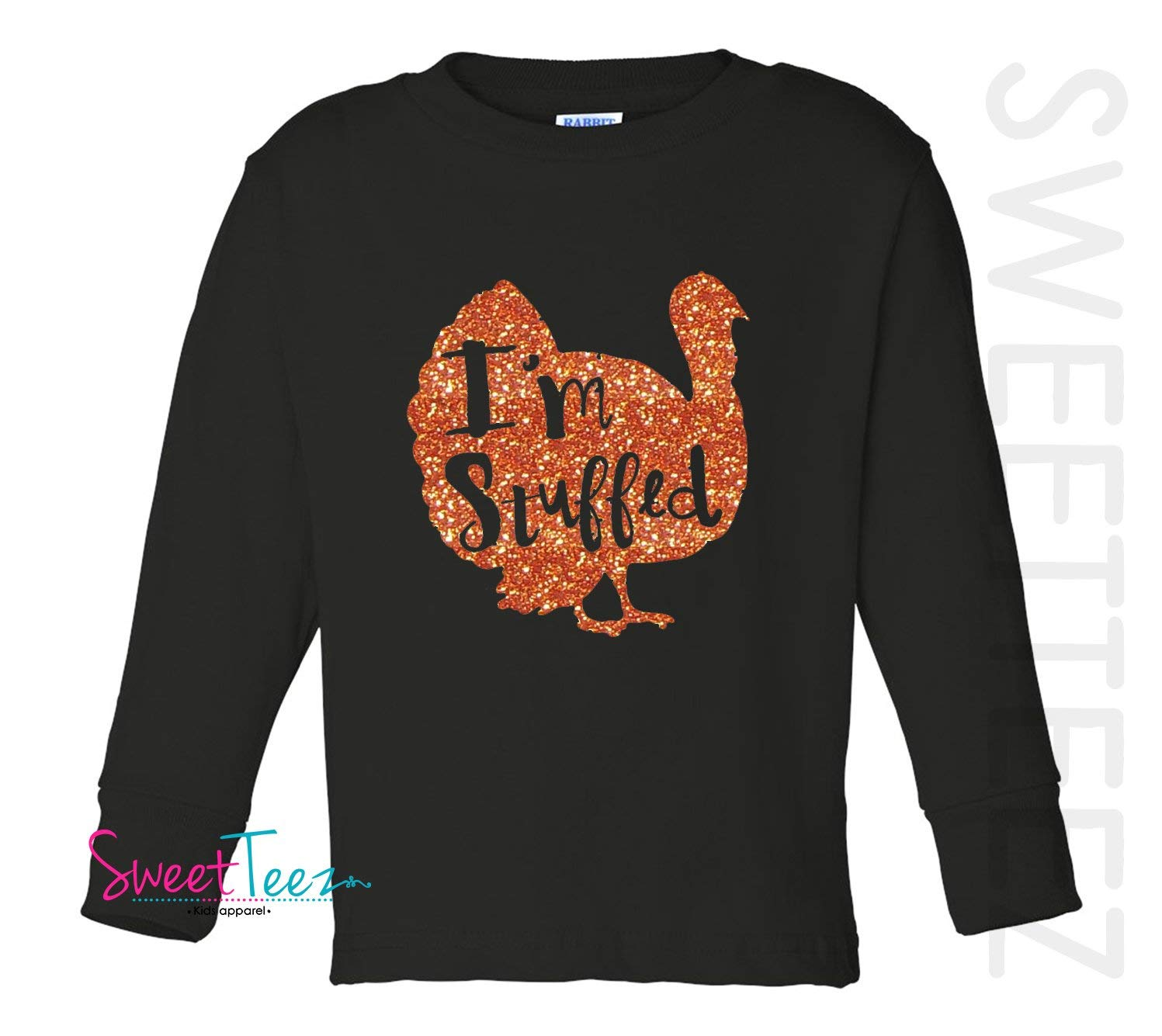 bd0f67f76 Get Quotations · Turkey Shirt Orange Glitter for Fall and Thanksgiving I'm  Stuffed Orange Black Long Sleeve