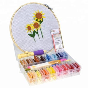 Magic Embroidery Pen Punch Needle Set 32pcs Embroidery Floss Cross Stitch Threads 20mm Hoop with Patterns For Sewing Tools