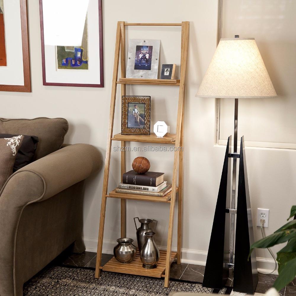 Living Room Bamboo Display Storage Shelves Modern Leaning Ladder Book Magazine Shelf With 4 Floors Stand Rack Corner Fishing