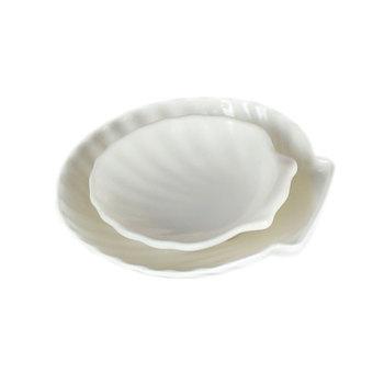 Shell Shape Ceramic Like White Melamine Plates For Restaurant