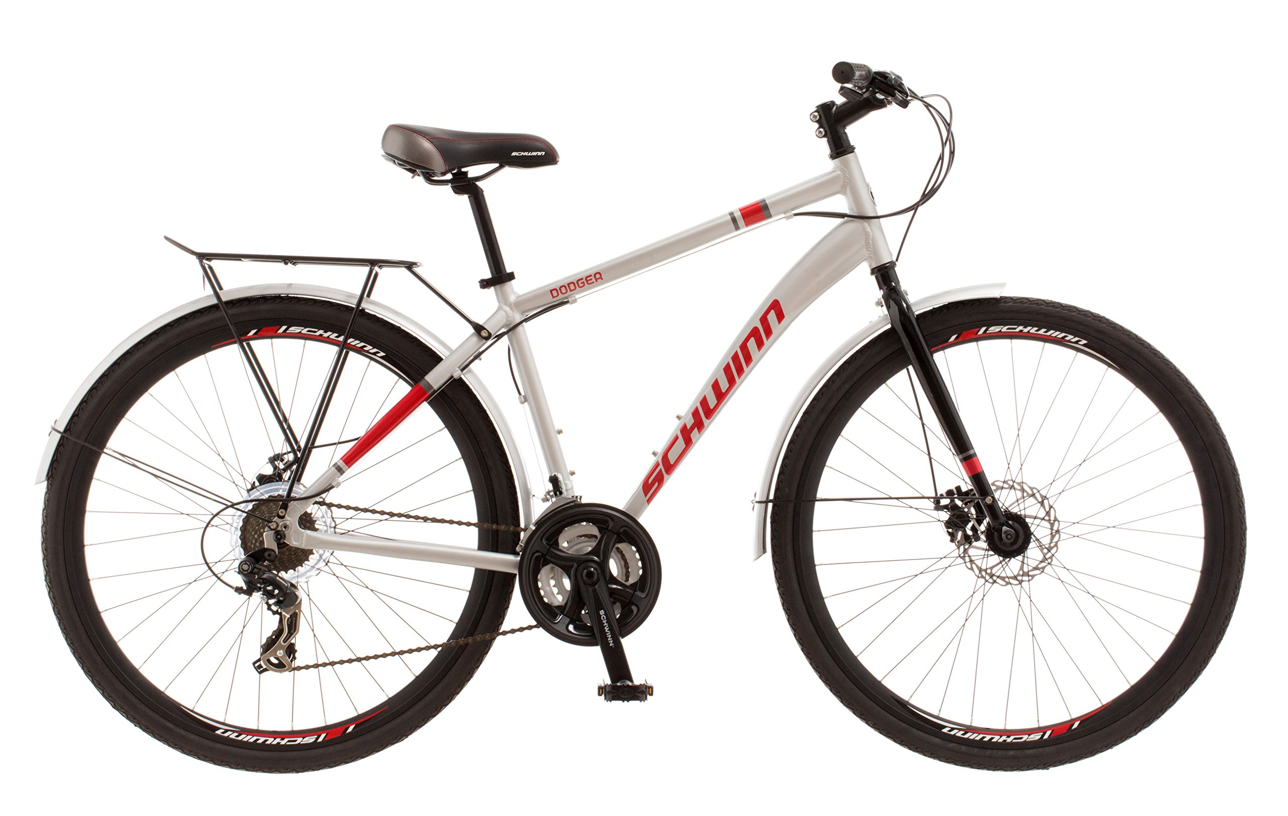 0a9ab5aa882 Get Quotations · Schwinn Dodger Urban 700C Wheel Urban Bicycle, Silver, 18