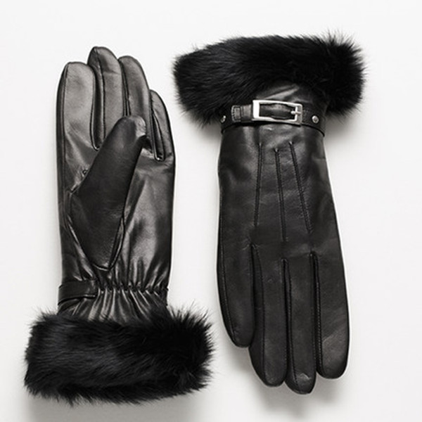 real rabit fur cuff PU gloves for women