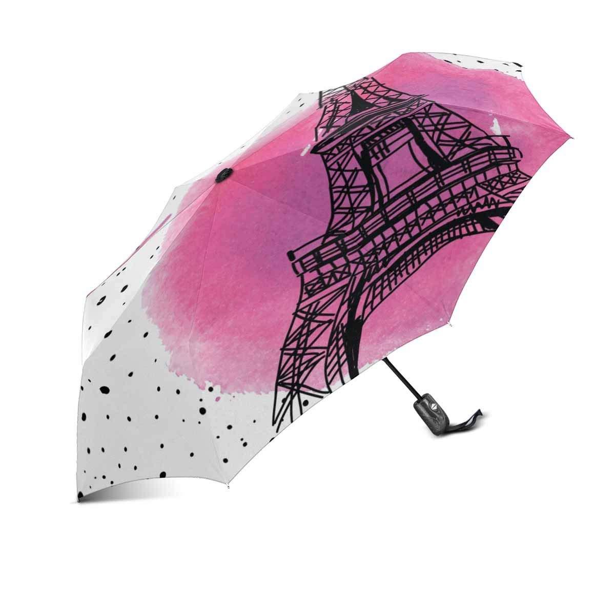 InterestPrint I Love Paris Eiffel Tower France 100% Polyester Pongee Windproof Fabric Travel Umbrella, Compact Automatic Open and Close Folding UV and Rain Umbrella