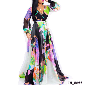 2019 Hot Wholesale accept paypal women fashion long sleeve floral chiffon maxi dresses