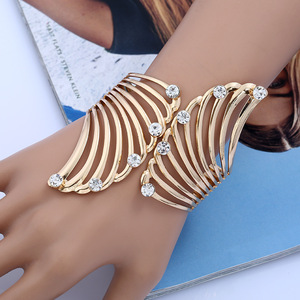 Gold feather cuff bracelets & adjustable woman bracelet metal indian bangles