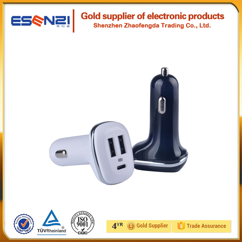 Universal <strong>portable</strong> with type c car charger 5V 5.1A car charger for mobile phone tablet