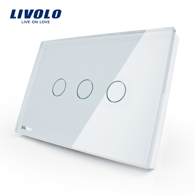 Livolo US standards Modern tempered glass 3 gang 1way White Wall Electric Smart Touch Switch VL-C303-81