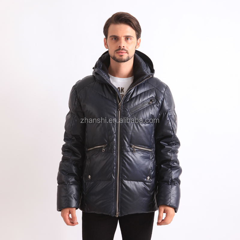 Wholesale Waterproof Winter PU Leather Men's Buuble Jackets With Hood