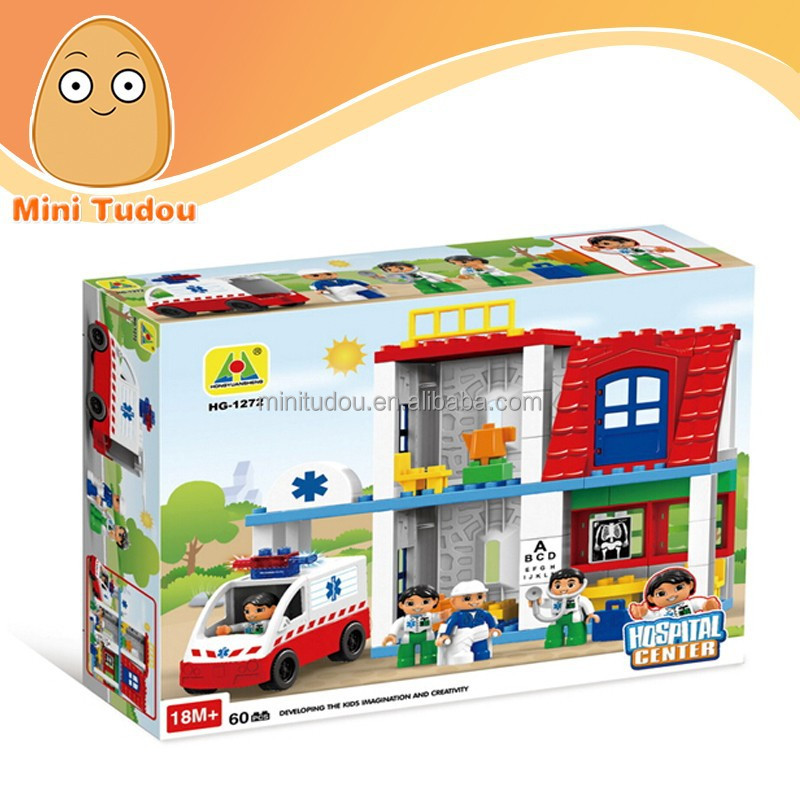 Children DIY Central Hospital large plastic building blocks 66pcs 3D wange building blocks